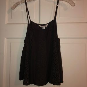 american eagle dark gray embroidered tank